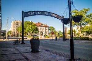 Main Street Entrance sign in Rockford Illinois