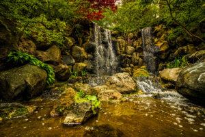 Waterfalls At The Japanese Garden In Rockford Illinois