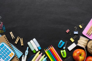Colored pencils, calculators, markers, and school supplies