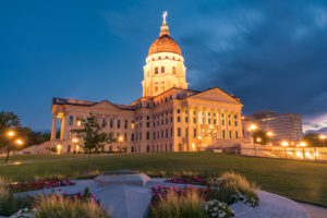 exterior of the kansas state capital in topeka